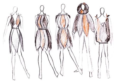d5fa4e30a Boceto De Modelo De Moda - Diseño De Vestidos De Noche En La Base De ...