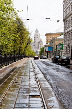 the carriageway: MOSCOW, RUSSIA - MAY 11: carriageway of Pokrovsky Boulevard in Moscow, Russia on May 11, 2013. Boulevard was arranged in the 1820s.