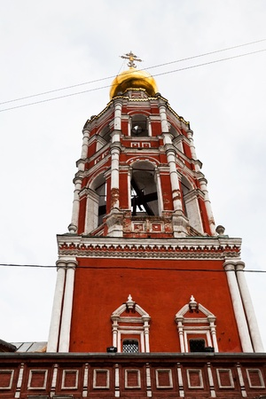 petrovka: bell tower of orthodox St. Peter Monastery in Moscow, Russia Stock Photo