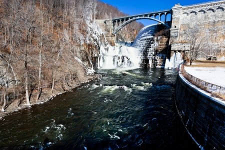 ice dam: Dam on Croton River USA in winter day