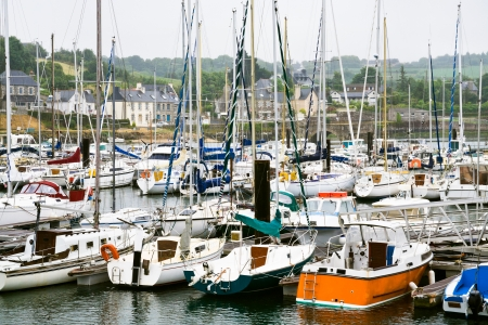 cotes d armor: yacht mooring in Treguier town in Brittany France