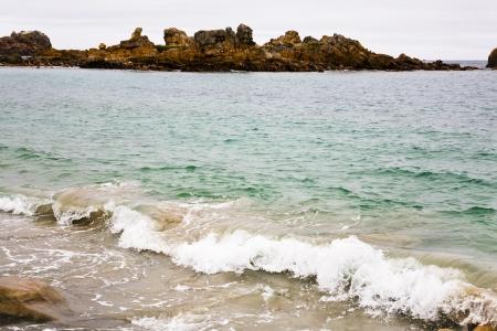 cote de granit rose: Pink Granite Coast in Brittany, France Stock Photo