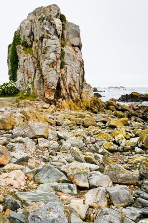 manche: old granite rock on coast of La Manche in Bretagne, France