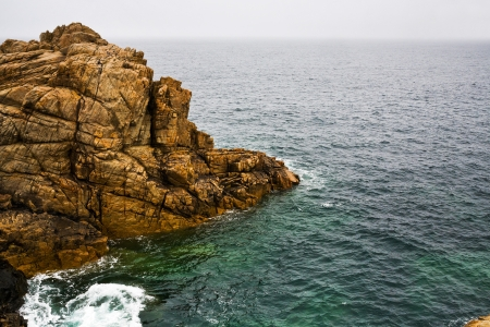 cotes d armor: old cliff on English Channel coast in Brittany France Stock Photo