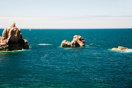 cote de granit rose: granite rocks in Atlantic ocean in Brittany, France