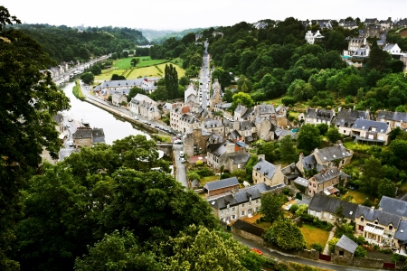 above view on town Dinan and river Rance, France photo