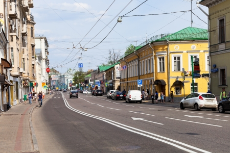 xx century: MOSCOW, RUSSIA - MAY 11: view of old Pokrovka street in Moscow, Russia on May 5, 2013. Present buildings on the street mainly refers to the XIX - early XX century