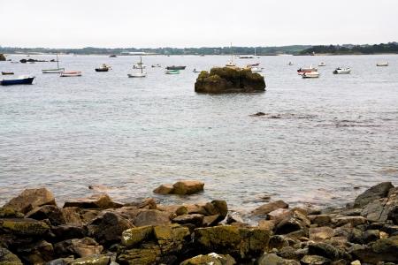 cotes d armor: Pink Granite Coastline in Brittany, France Stock Photo