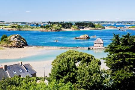 cotes d armor: rural landscape on Atlantic coastline in Brittany, France
