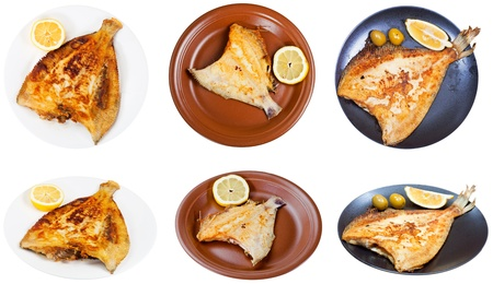 top view of fried sole fish on white plate isolated on white background Stock Photo - 20273610