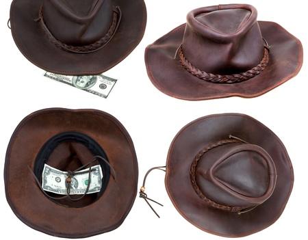 limosna: Sombrero de vaquero de cuero marrón aisladas sobre fondo blanco