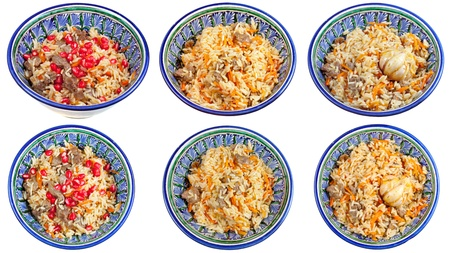 uzbek: top view on traditional asian pilau in ceramic bowl isolated on white background