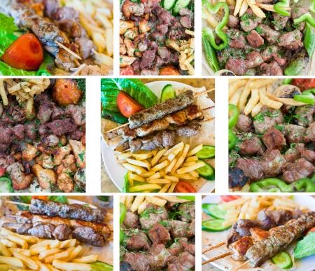 ヨルダン通りのレストランではアラビア語の子羊ケバブとプレート