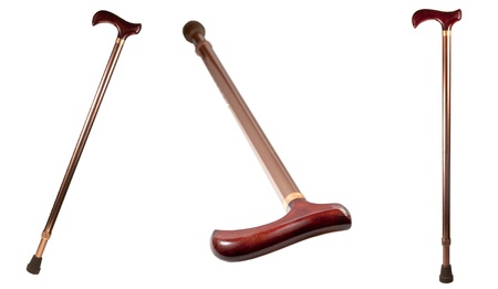 brass rod: walking stick isolated on white background Stock Photo