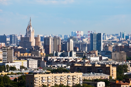 Moscow center cityscape in summer day photo