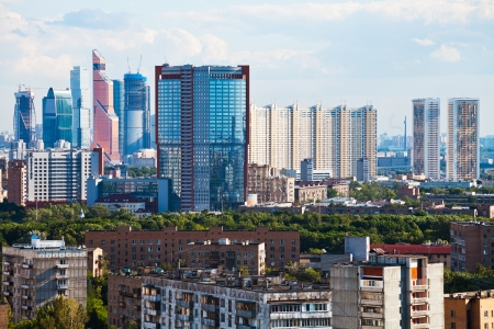 view of residential and business areas in Moscow photo