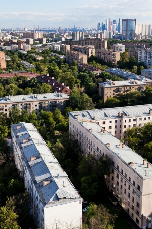 above view of Moscow city in summer afternoon photo