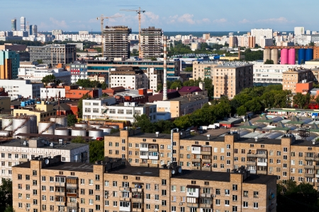 urban view with buildings under construction in Moscow photo