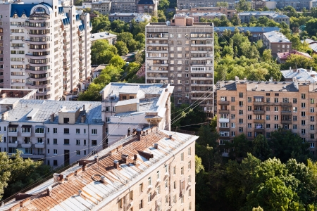 above view of urban houses in Moscow city photo