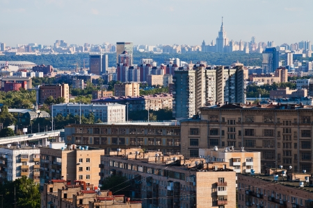 Moscow city skyline in summer afternoon photo