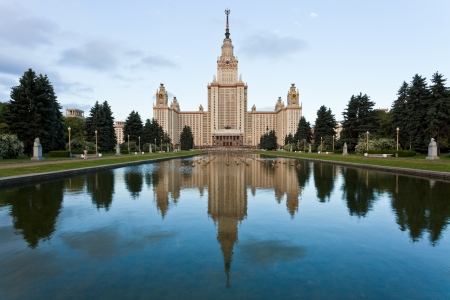 panorama of Moscow State University Alley in morning
