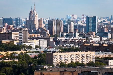 panorama of Moscow city center in summer afternoon photo