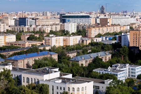 panoramic view of residential district in Moscow in summer afternoon photo