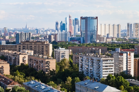 business and residential quarters in Moscow city in summer afternoon photo