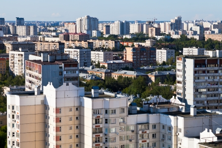 above view of urban houses in Moscow in summer afternoon photo