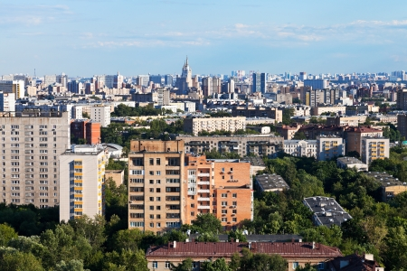 central Moscow city skyline in summer afternoon photo