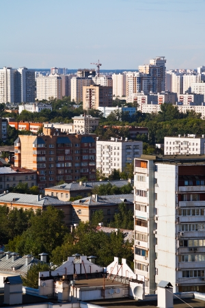 skyline with residential houses in Moscow city in summer afternoon photo
