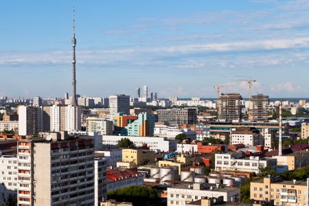 panorama of Moscow with Ostankino TV tower in summer afternoon photo