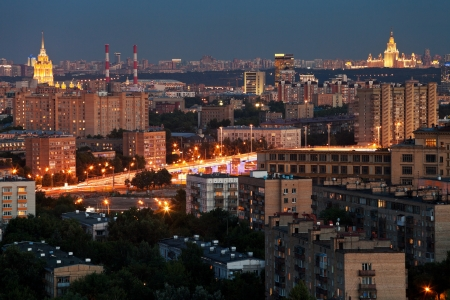 night Moscow urban landscape in summer photo