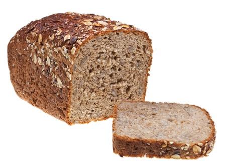 穀物パンと白い背景で隔離のパンのスライスの予感 写真素材