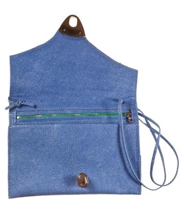 pochette: open small flat handbag isolated on white background Stock Photo