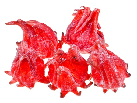 comfit: candied fruit hibiscus isolated on white background