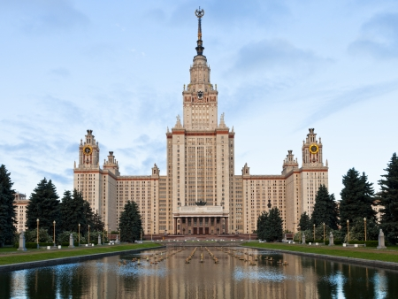 Moscow, Russia - June 22, 2013: main building of Moscow State University in early morning