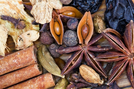 top view set of spices for mulled wine close up photo