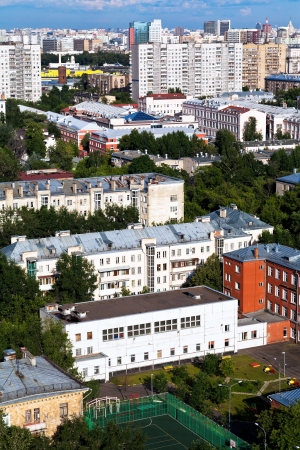 above view of residential block in Moscow in summer afternoon photo
