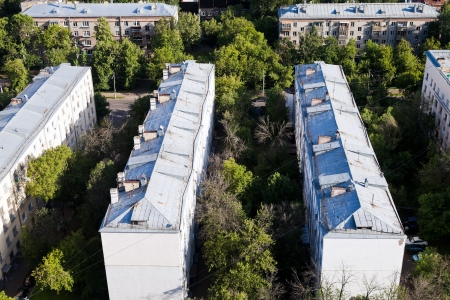 above view on old municipal houses in Moscow in summer afternoon photo