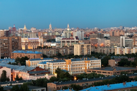 gloaming: panorama of Moscow in summer evening gloaming