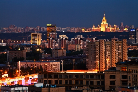 above view of Moscow in summer night photo