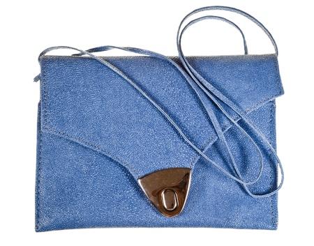 pochette: leather small flat handbag isolated on white background Stock Photo