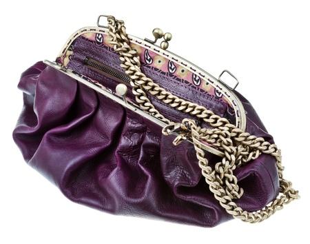 pawl: open dark cherry color leather retro style handbag isolated on white background Stock Photo