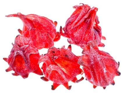 comfit: Dried Hibiscus Flowers fruits isolated on white background