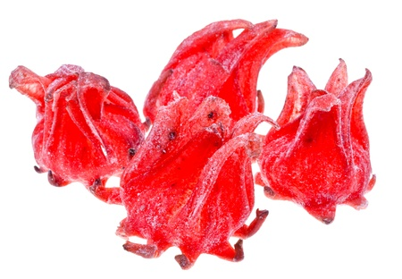 comfit: candied Hibiscus Flowers isolated on white background