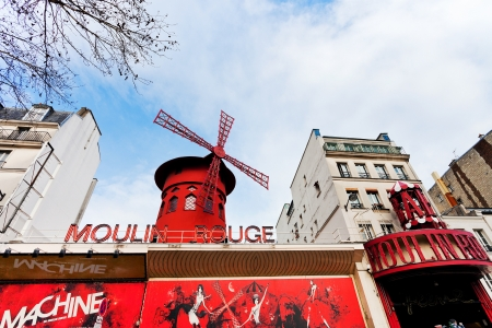 PARIS, FRANCE - MARCH 5: Moulin Rouge. The house was co-founded in 1889 by Charles Zidler and Joseph Oller, in Paris, France on March 5, 2013