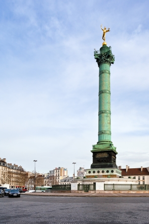 PARIS, FRANCE - MARCH 6: Place de la Bastille in Paris on March 6, 2013. Place de la Bastille is a square, where Bastille prison stood and its subsequent physical destruction during French Revolution