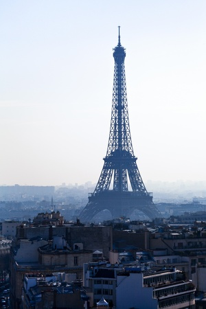 d'eiffel: Avenues D Iena and Eiffel tower on background in Paris
