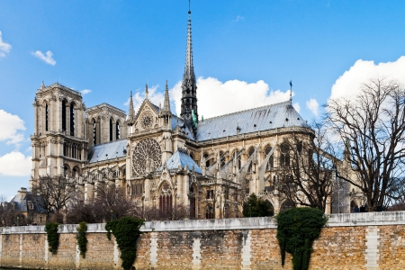 cathedral Notre-Dame de Paris and Seine River in spring photo